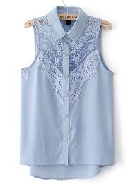 baby blue blouse light blue hollow out lace sleeveless thin chiffon blouse