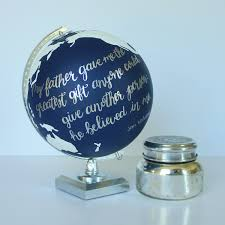 custom hand painted globe with continents u0026 quote or bible
