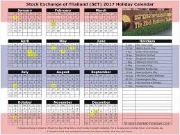stock exchange of thailand 2017 2018 holidays set holidays