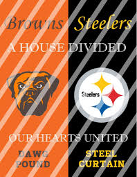 browns steelers house divided wall decor sign instant download