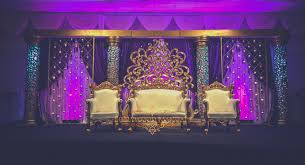 Peacock Decoration Gold Wedding Stage With Purple Draping 120 Moroccan Tea Lights