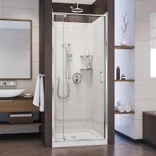 shop shower stalls kits at lowes com dreamline flex chrome 3 piece alcove shower kit common 36 in x