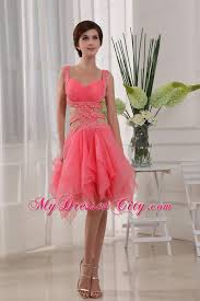 beaded straps watermelon prom dress with cut out waist