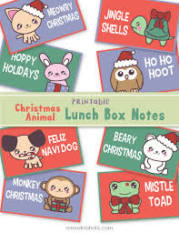 remodelaholic free printable funny christmas animal lunch box notes