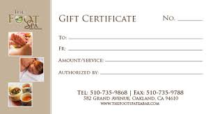 gift certificate printing foot spa gift certificates