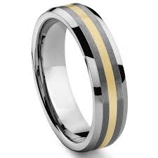wood inlay wedding band regal 6mm tungsten carbide 14k gold inlay wedding band