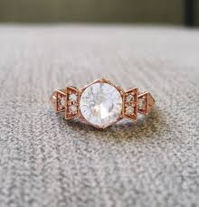 copper engagement ring antique white sapphire engagement ring gold 1920s