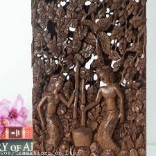 wall hanging wooden panel vintage bali carved wood wall