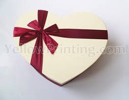 gift box with ribbon heart shaped paper gift box with ribbon design yellow printing