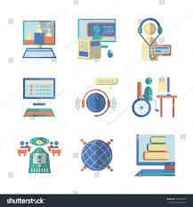 Color Image Online by Set Educational Vector Icons Signs Flat Stock Vector 324224855