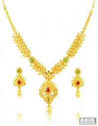 stone necklace designs images 22k designer stone necklace set ajns58282 22kt gold designer jpg