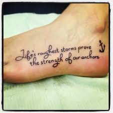 small anchor with life spiritual quote tattoo on foot