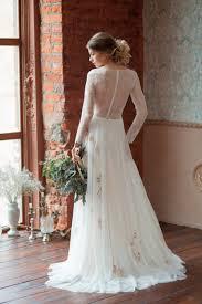 ivory lace chiffon sheer a line v neck long sleeve bridal dress