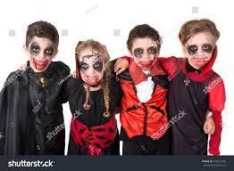 group kids facepaint halloween vampire costumes stock photo