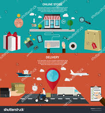 Color Image Online by Set Flat Color Banners Concept Online Stock Vector 314096072