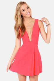 plunging neckline coral pink dress plunging neckline dress sleeveless dress