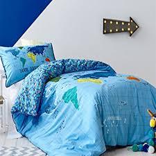 Childrens Duvet Cover Sets Amazon Com Lelva Blue Map Of The World Of Bedding Sets Cotton