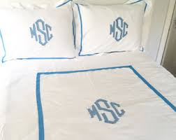 Monogrammed Comforters Monogram Linens By Southernlinen On Etsy