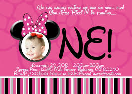 design simple minnie mouse 1st birthday custom invitations with