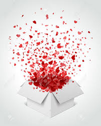 gift box present with fly hearts valentine day vector illustration