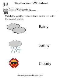 preschoolers have to match the words rainy sunny and cloudy with
