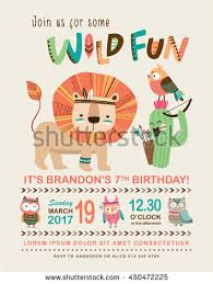 kids birthday invitation card cute cartoon stock vector 450472201