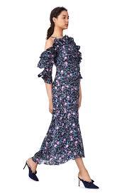 open shoulder ruby floral organza dress rebecca taylor