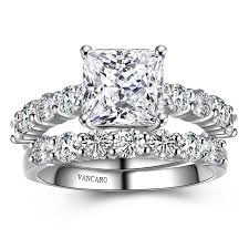 wedding ring sets for women classic princess cut white cubic zirconia wedding ring sets for women