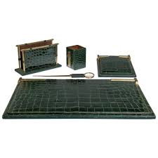 Modern Desk Accessories Set by Pineider Green Crocodile Five Piece Desk Set At 1stdibs