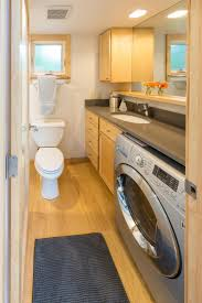 appealing minimalist bathroom with laundry space design ideas