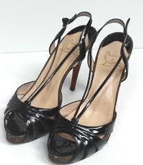 auth christian louboutin black patent leather activa sandal heels