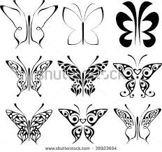 butterfly patterns to trace set of stylized butterfly