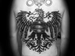 shaded black and grey ink guys back german eagle ideas