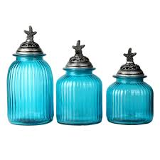 Bathroom Canisters Oblu Glass Canister With Starfish Lid Set Of 3 At Home At Home