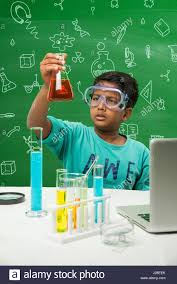 Lab Chemist Cute Indian Kids Doing Science Experiment In Chemistry Lab Or