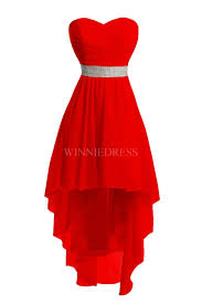 shop discount red high low lace up chiffon sweetheart bridesmaid