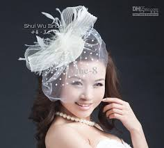 wedding hair using nets married bride headdress retro white feather accessories hair nets