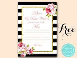 Advice To The Bride Cards Free Gold Black Stripes Bridal Shower Games Bridal Shower Ideas