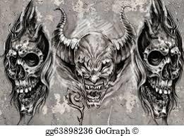 stock illustration death sketch of tattoo art warrior at horse