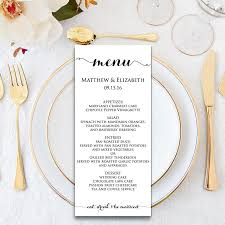 menu free printables wedding menu template wedding menu template