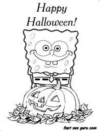 printable happy halloween spongebob coloring pages printable
