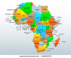 africa continent map political location map continent countries stock