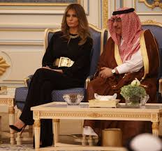melania trump u0027s gold belt in saudi arabia with king salman