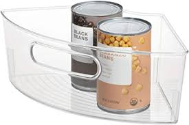 how to organize a lazy susan cabinet idesign plastic lazy susan cabinet storage bin bpa free 1 4 wedge container for kitchen pantry counter 12 56 x 7 33 x 4 05 clear