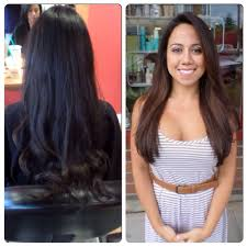 viola hair extensions from black to beautiful balayage and cut hair by