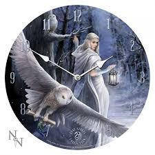 owl fantasy art wall clock by anne stokes