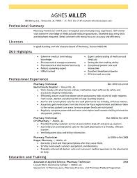 pharmacy technician resume professional summary cover letter