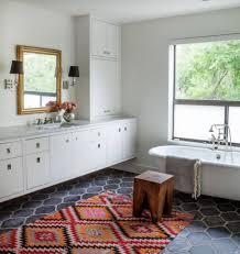 Colorful Bathroom Rugs Gray Hexagonal Floor Tiles With Orange Colorful Bath