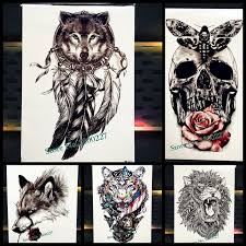 wolf design temporary tattoo dreamcatcher indian black feather