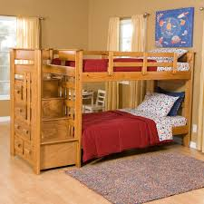 bedroom chic wood bunk beds with stairs and drawers on wooden chic wood bunk beds with stairs and drawers on wooden floor matched with cream wall with glass window and curtain for teen bedroom decor ideas